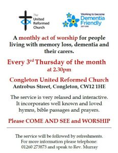 Dementia Friendly Service at United Reformed Church, 3rd Thursday of every month